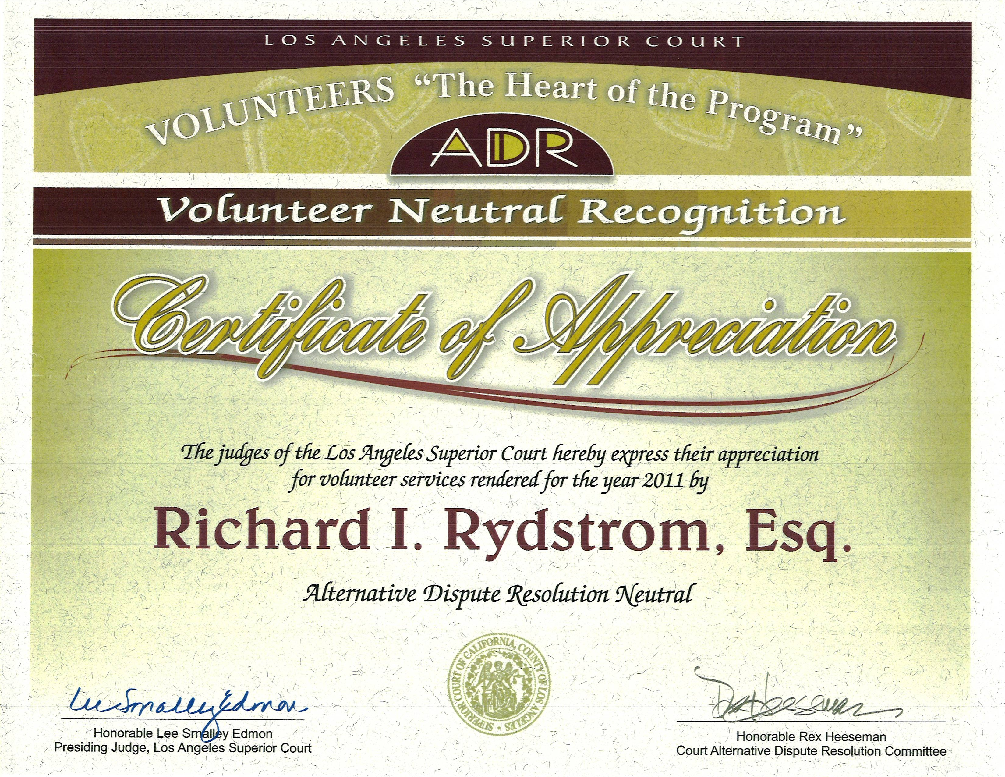 Los Angeles Attorney Rich Rydstrom Litigation ADR arbitrator settle civil litigation foreclosure VSO LA Judges